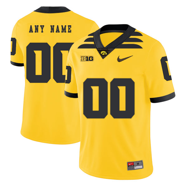 Iowa Hawkeyes Customized Yellow College Football Jersey