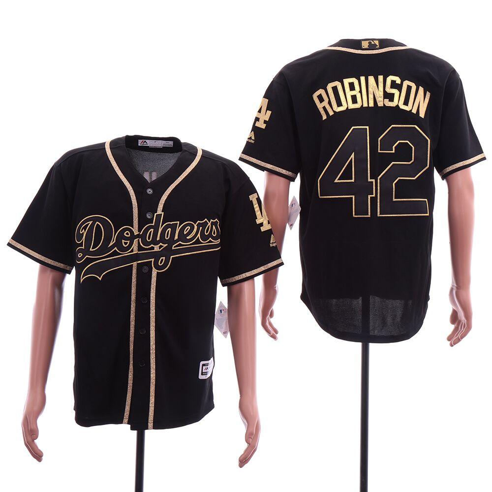 Dodgers 42 Jackie Robinson Black Gold Cool Base Jersey