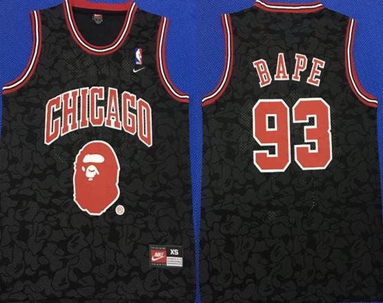 Bulls 93 Bape Black Nike Swingman Jersey