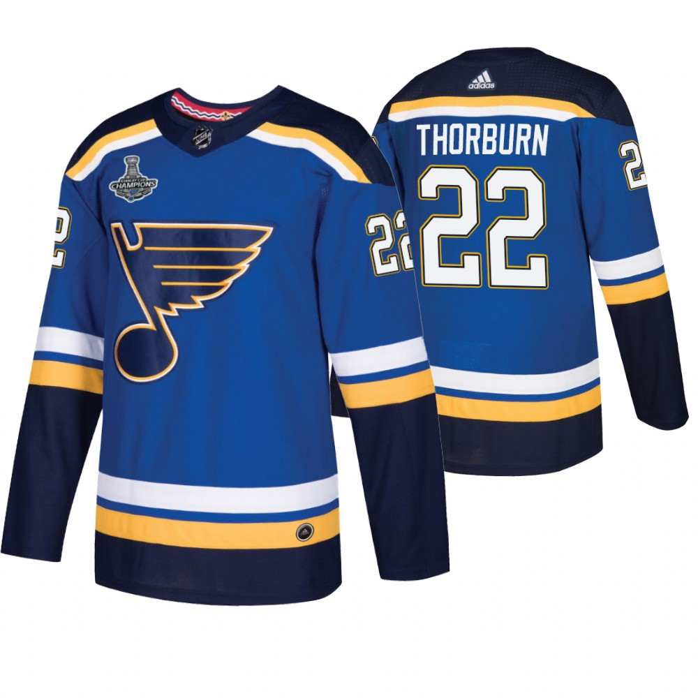 Blues 22 Chris Thorburn Blue 2019 Stanley Cup Champions Adidas Jersey