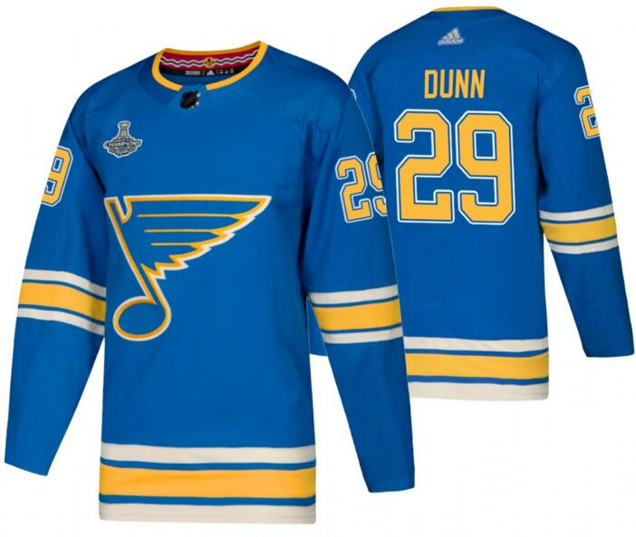 Blues 29 Vince Dunn Blue Alternate 2019 Stanley Cup Champions Adidas Jersey