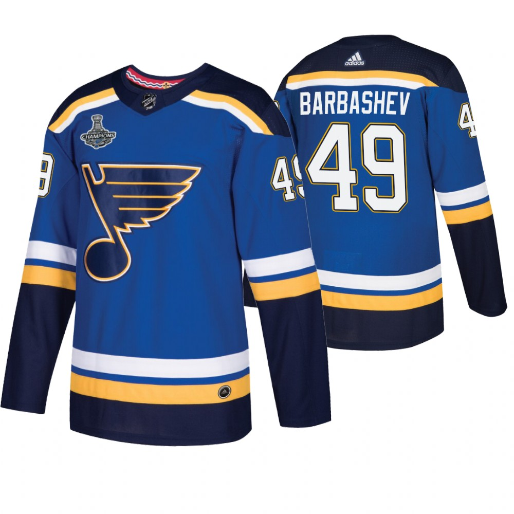 Blues 49 Ivan Barbashev Blue 2019 Stanley Cup Champions Adidas Jersey