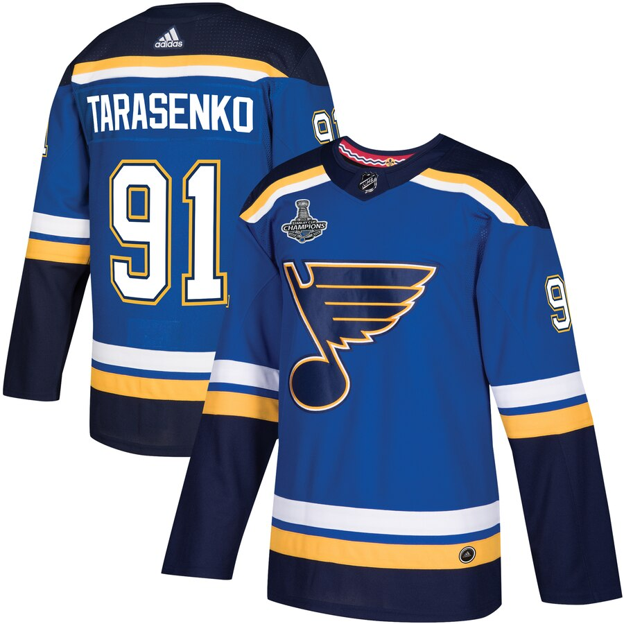 Blues 91 Vladimir Tarasenko Blue 2019 Stanley Cup Champions Adidas Jersey