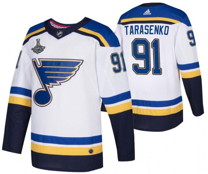 Blues 91 Vladimir Tarasenko White 2019 Stanley Cup Champions Adidas Jersey