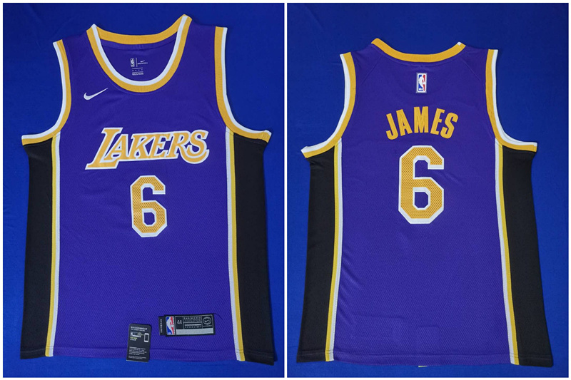 Lakers 6 Lebron James Purple Nike Swingman Jersey