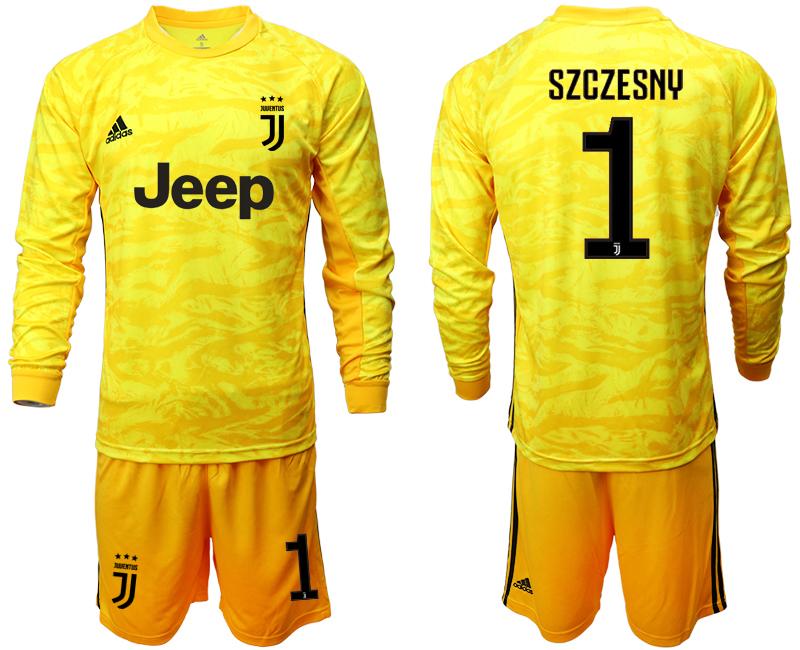 2019-20 Juventus 1 SZCZESNY Yellow Long Sleeve Goalkeeper Soccer Jersey