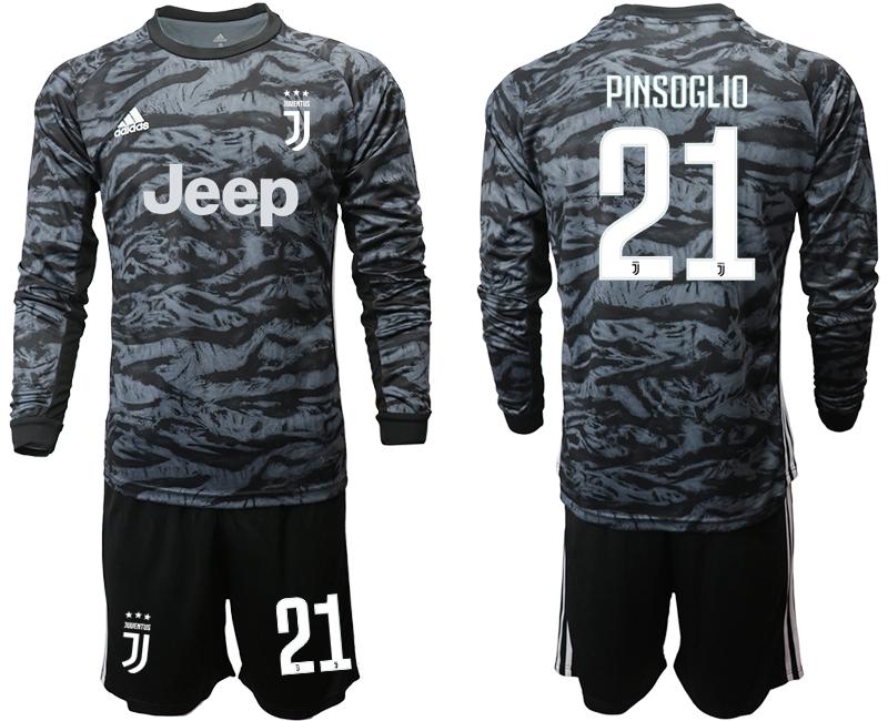2019-20 Juventus 21 PINSOGLIO Black Long Sleeve Goalkeeper Soccer Jersey