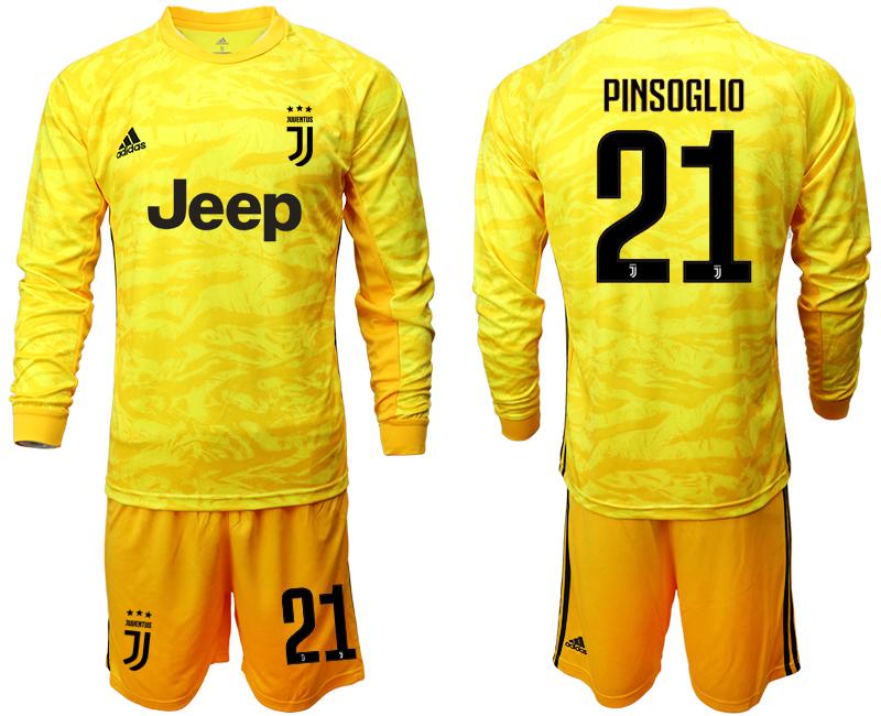 2019-20 Juventus 21 PINSOGLIO Yellow Long Sleeve Goalkeeper Soccer Jersey