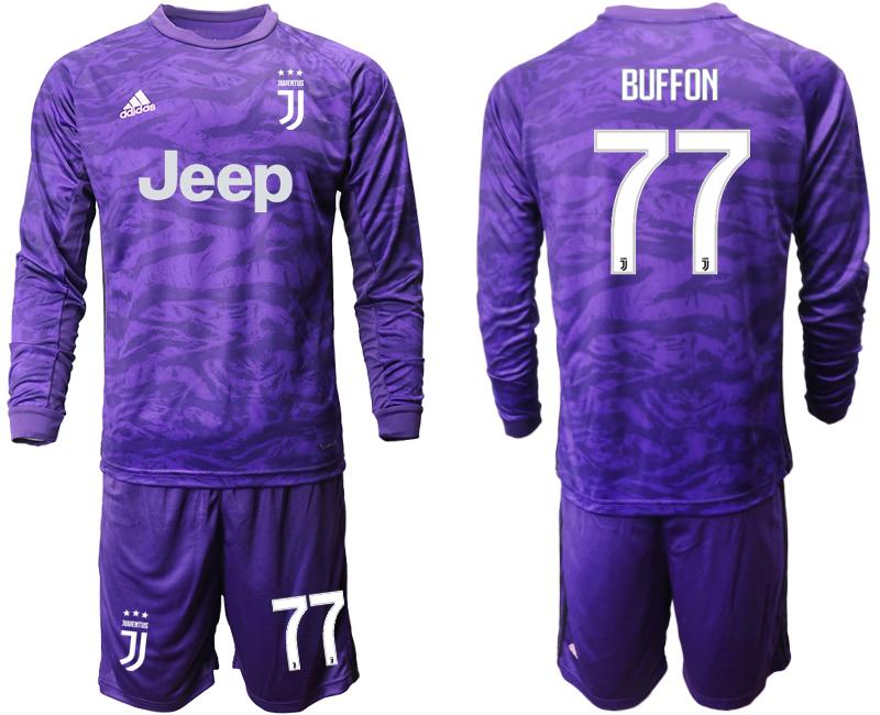 2019-20 Juventus 77 BUFFON Purple Long Sleeve Goalkeeper Soccer Jersey