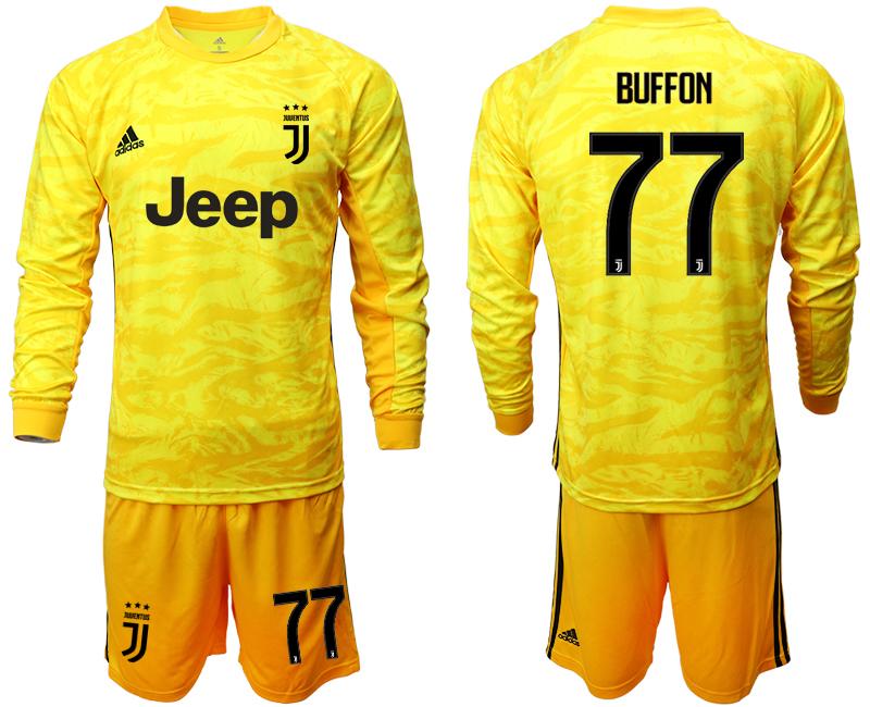 2019-20 Juventus 77 BUFFON Yellow Long Sleeve Goalkeeper Soccer Jersey