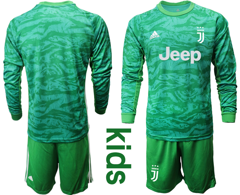 2019-20 Juventus Green Long Sleeve Youth Goalkeeper Soccer Jersey