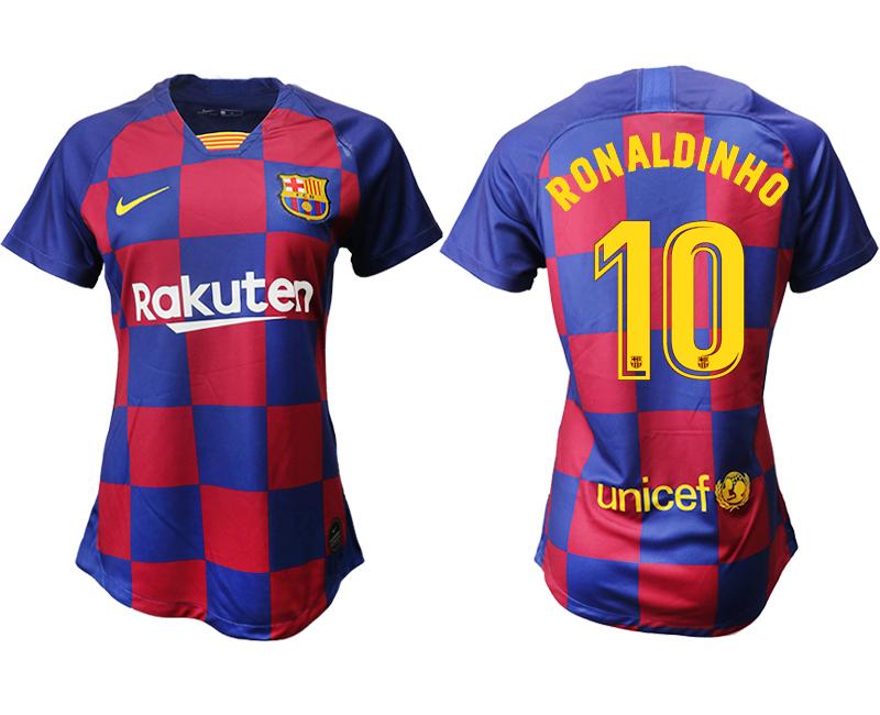2019-20 Barcelona 10 RONALDINHO Home Women Soccer Jersey