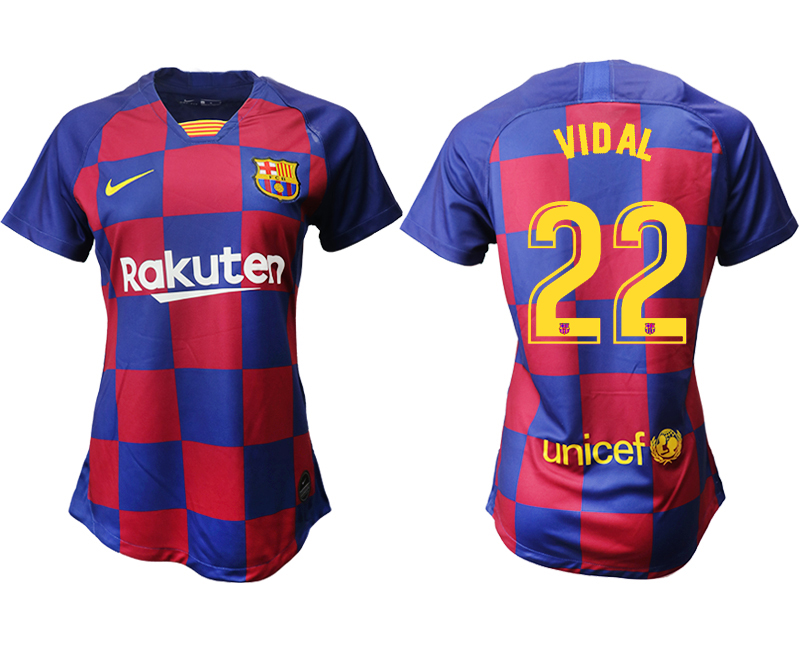 2019-20 Barcelona 22 VIDAL Home Women Soccer Jersey