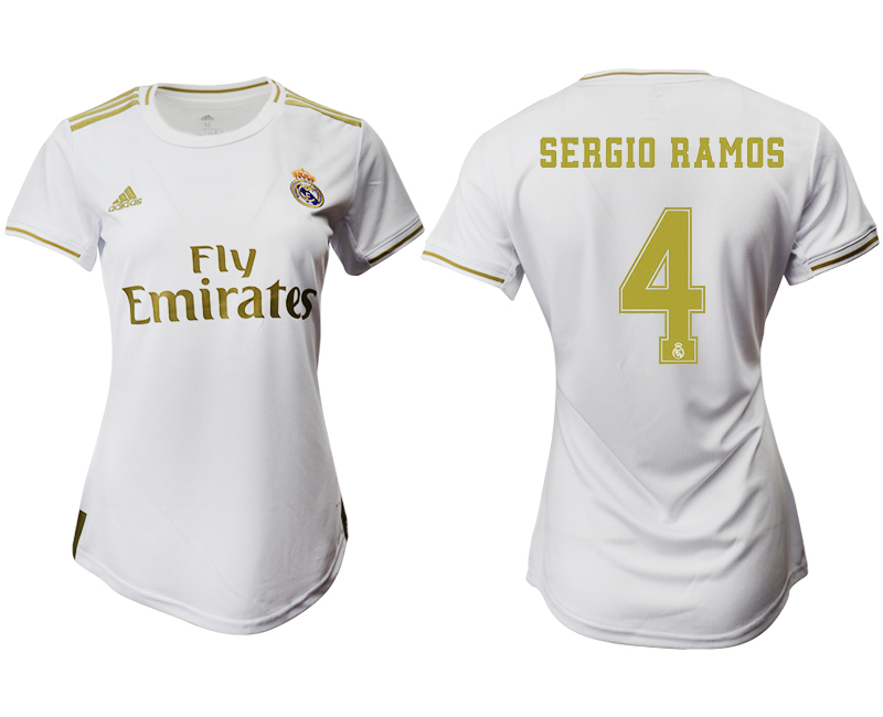 2019-20 Real Madrid 4 SERGIO RAMOS Home Women Soccer Jersey
