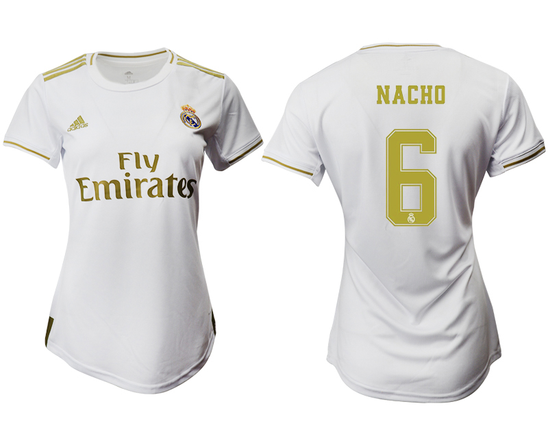 2019-20 Real Madrid 6 NACHO Home Women Soccer Jersey