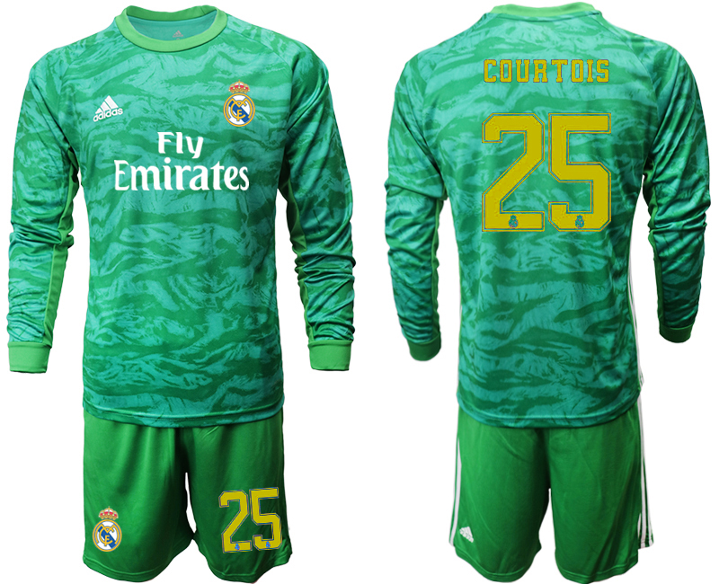 2019-20 Real Madrid 25 COURTOIS Green Long Sleeve Goalkeeper Soccer Jersey