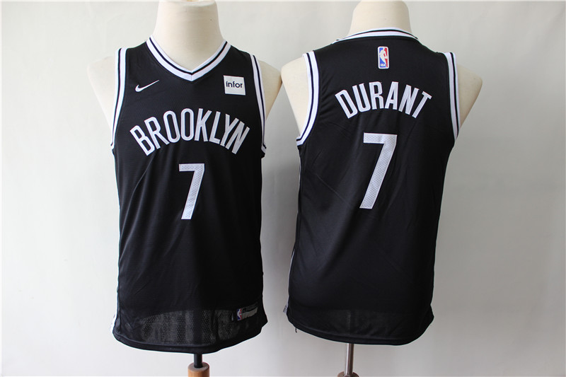 Nets 7 Kevin Durant Black Youth Nike Swingman Jersey