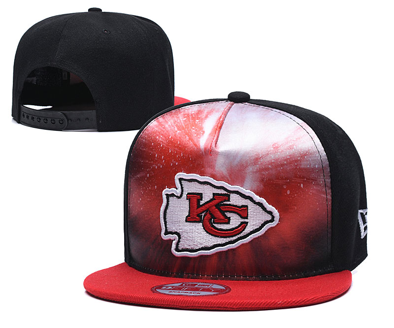 Chiefs Team Logo Red Black Adjustable Leather Hat TX