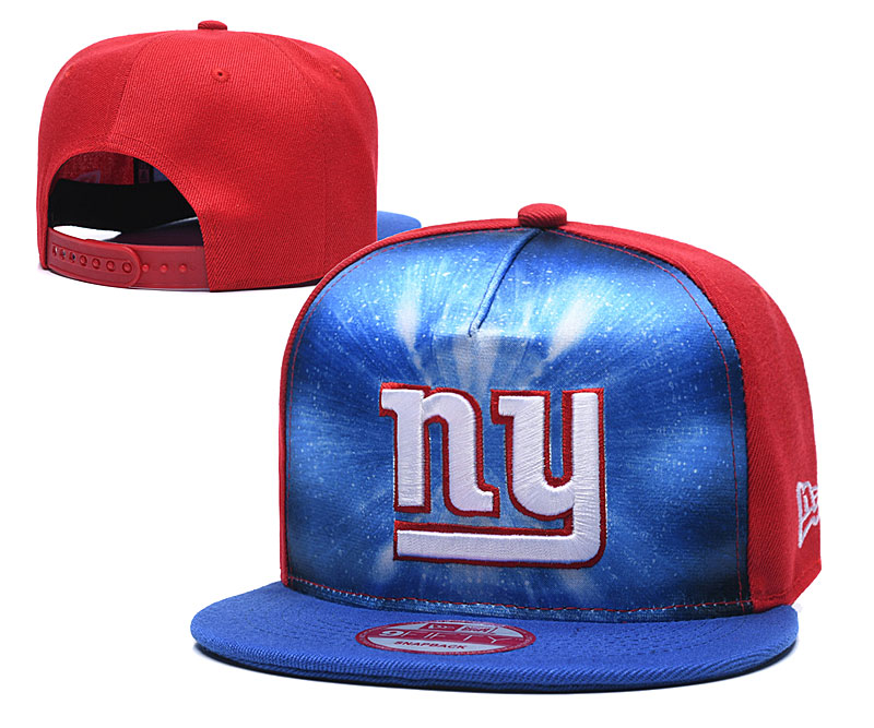 New York Giants Team Logo Royal Red Adjustable Leather Hat TX
