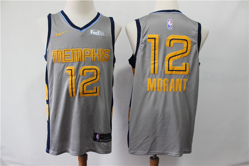 Grizzlies 12 Ja Morant Gray City Edition Nike Swingman Jersey