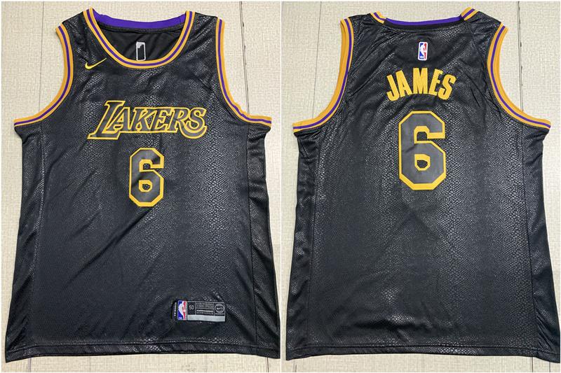 Lakers 6 Lebron James Black City Edition Nike Swingman Jersey