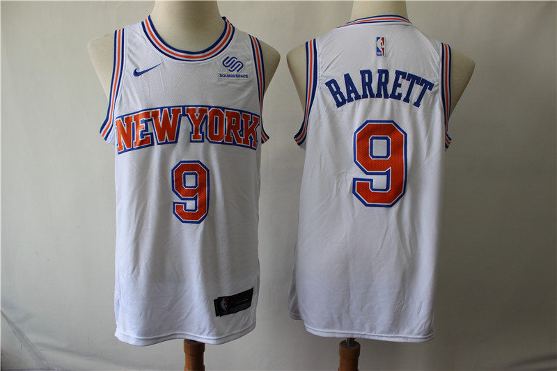 Knicks 9 R.J. Barrett White Nike Swingman Jersey