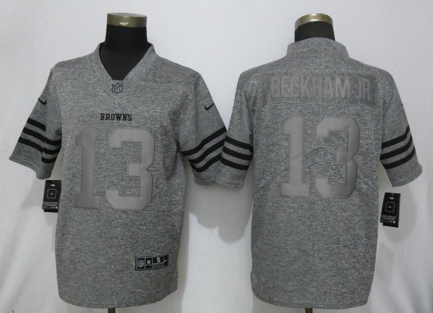Nike Browns 13 Beckham Jr Gray Gridiron Gray Vapor Untouchable Limited Jersey