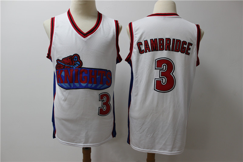 Los Angeles Knights 3 Calvin Cambridge White Movie Basketball Jersey