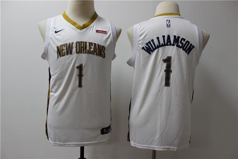 Pelicans 1 Zion Williamson White Youth Nike Swingman Jersey