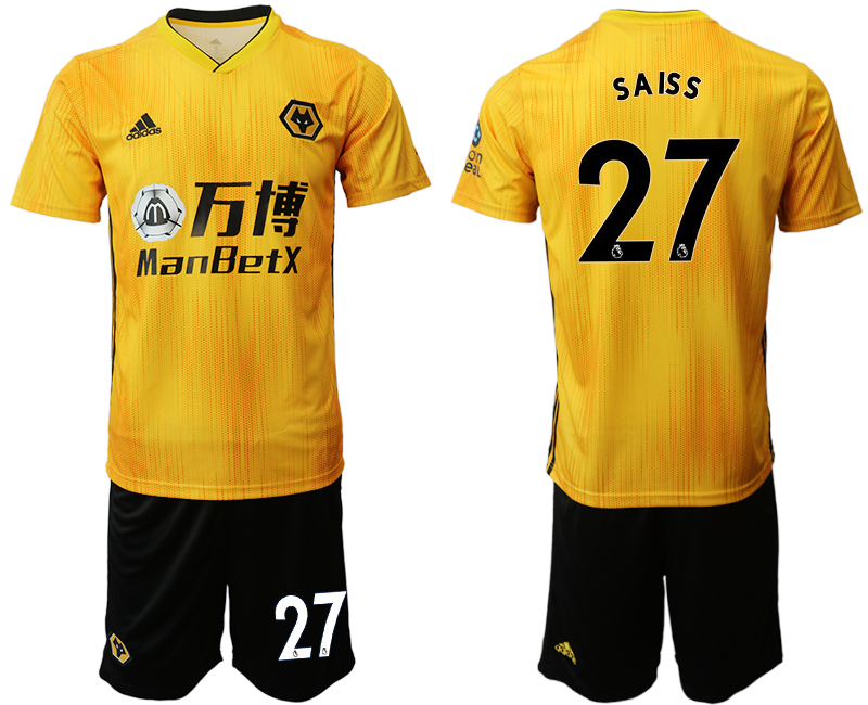 2019-20 Wolverhampton Wanderers 27 S A IS S Home Soccer Jersey