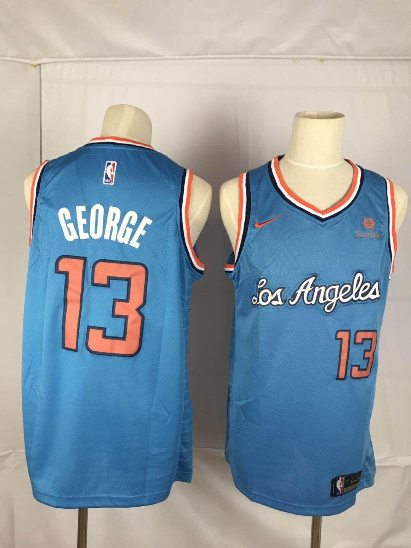 Clippers 13 Paul George Blue Nike Throwback Swingman Jersey