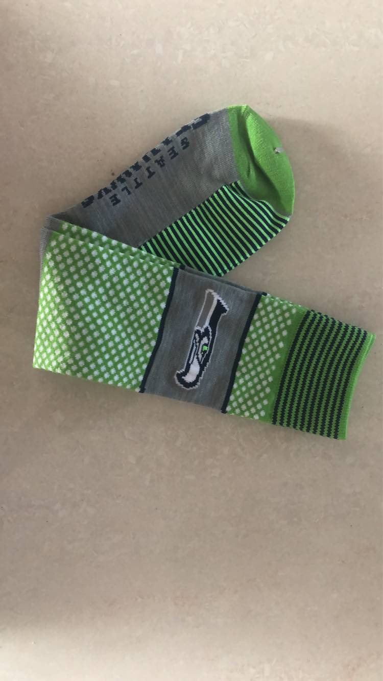 Seattle Seahawks Team Logo Green Gray NFL Socks