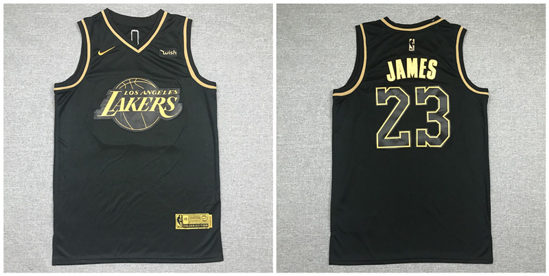 Lakers 23 Lebron James Black Gold Nike Swingman Jersey