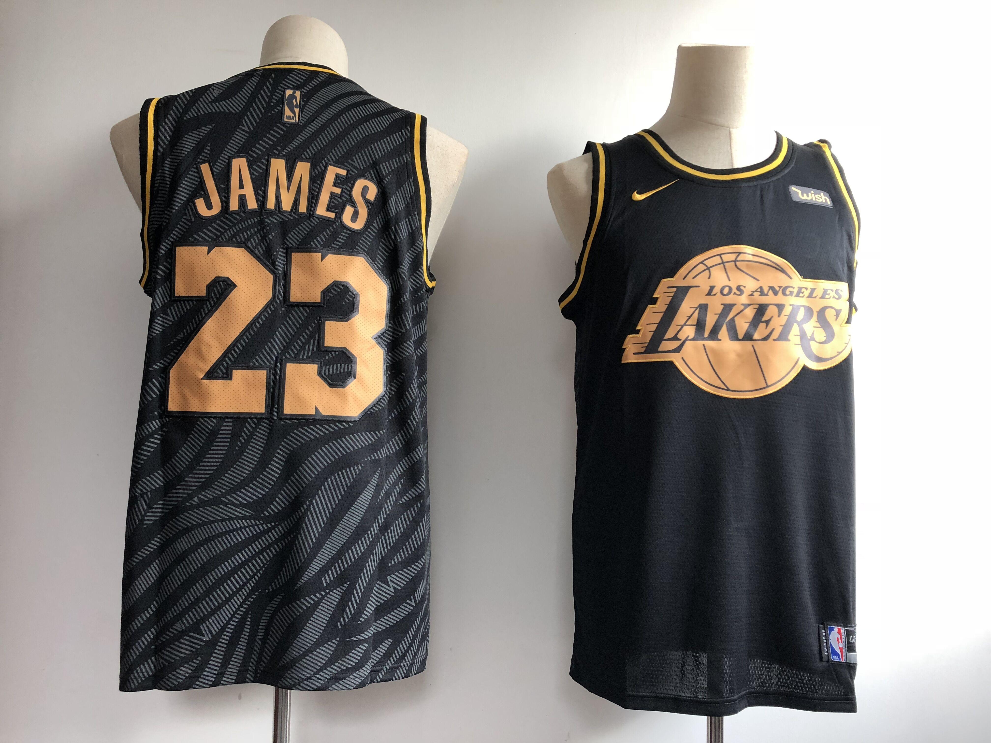 Lakers 23 Lebron James Black Gold Nike Swingman Jerseys