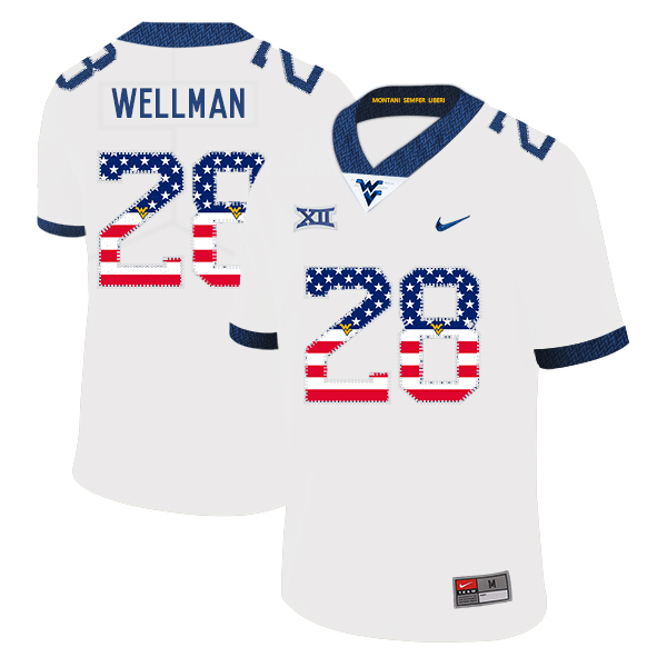 West Virginia Mountaineers 28 Elijah Wellman White USA Flag College Football Jersey