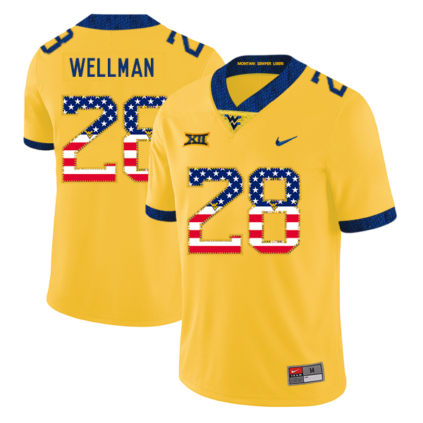 West Virginia Mountaineers 28 Elijah Wellman Yellow USA Flag College Football Jersey