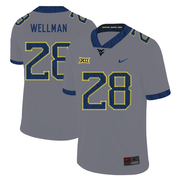 West Virginia Mountaineers 28 Elijah Wellman Gray College Football Jersey