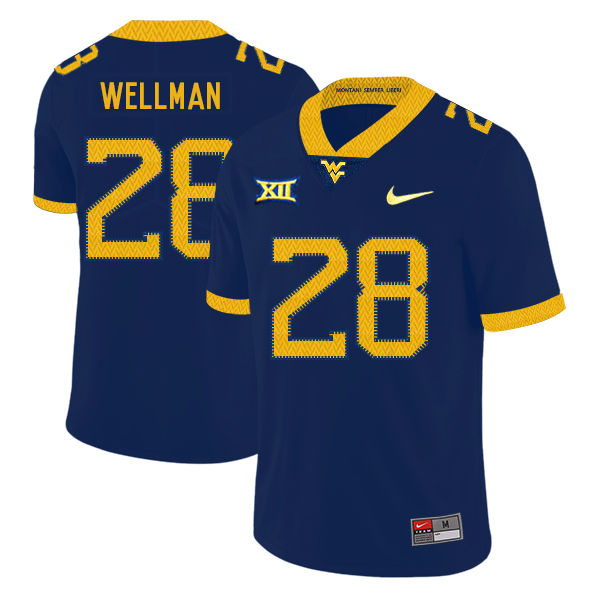 West Virginia Mountaineers 28 Elijah Wellman Navy College Football Jersey