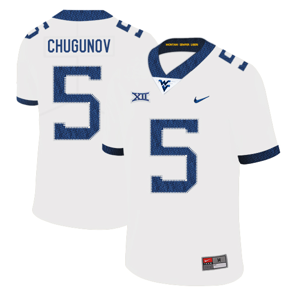 West Virginia Mountaineers 5 Chris Chugunov White College Football Jersey