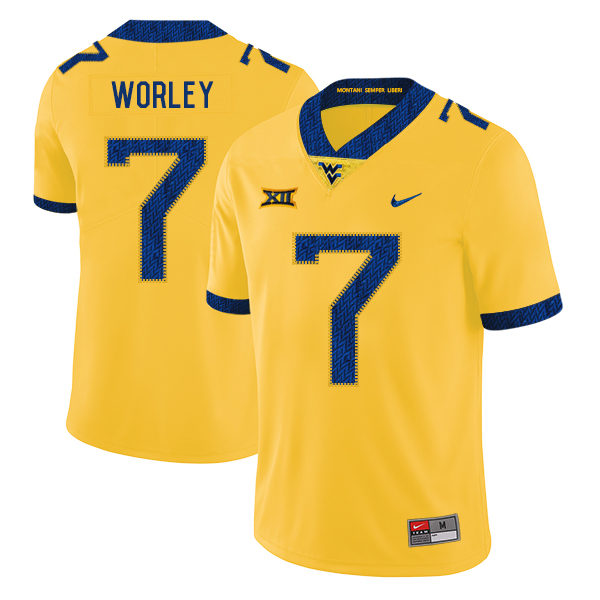 West Virginia Mountaineers 7 Daryl Worley Yellow College Football Jersey