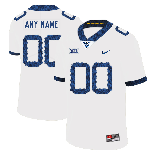 West Virginia Mountaineers Customized White College Football Jersey