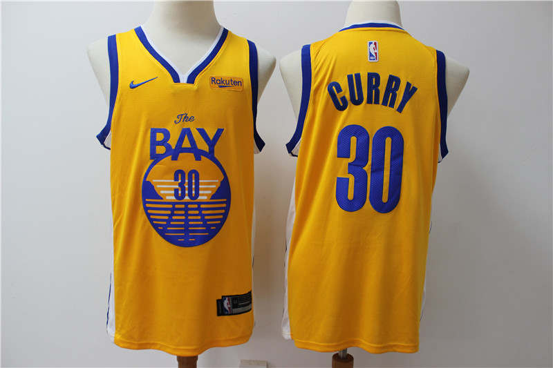 Warriors 30 Stephen Curry Yellow Nike Swingman Jersey