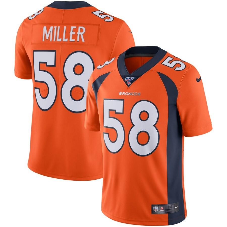 Nike Broncos 58 Von Miller Orange 100th Season Vapor Untouchable Limited Jersey