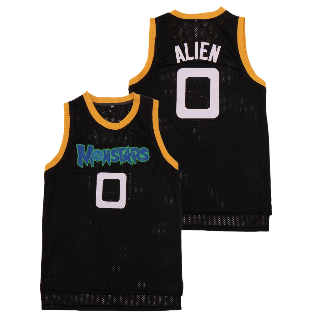 Monstars 0 Alien Space Jam Movie Monsters Black Stitched Basketball Jersey