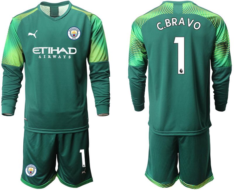 2019-20 Manchester City 1 C.BRAVO Dark Green Goalkeeper Long Sleeve Soccer Jersey