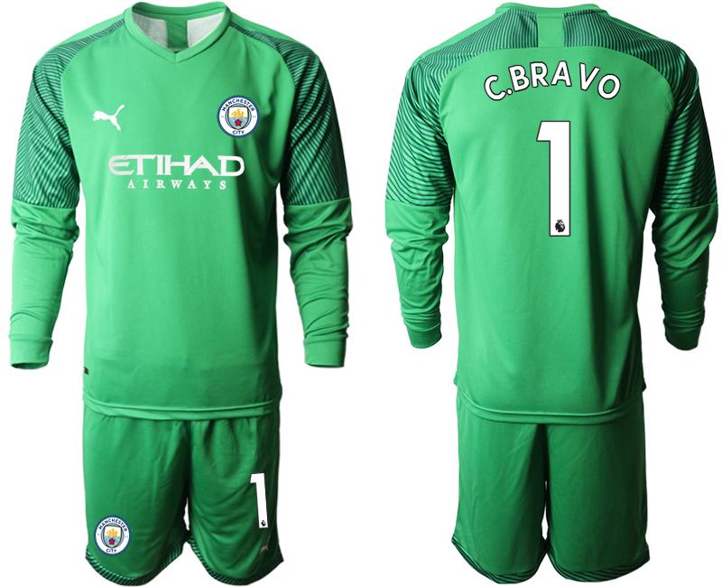 2019-20 Manchester City 1 C.BRAVO Green Goalkeeper Long Sleeve Soccer Jersey