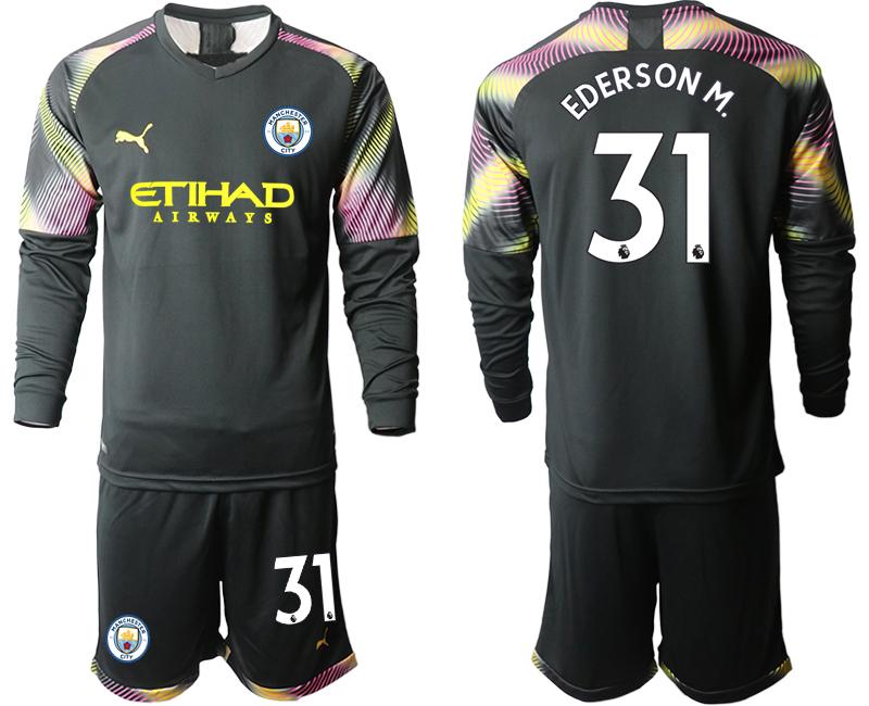 2019-20 Manchester City 31 EDERSON M. Black Goalkeeper Long Sleeve Soccer Jersey