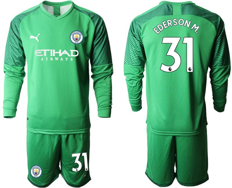 2019-20 Manchester City 31 EDERSON M. Green Goalkeeper Long Sleeve Soccer Jersey