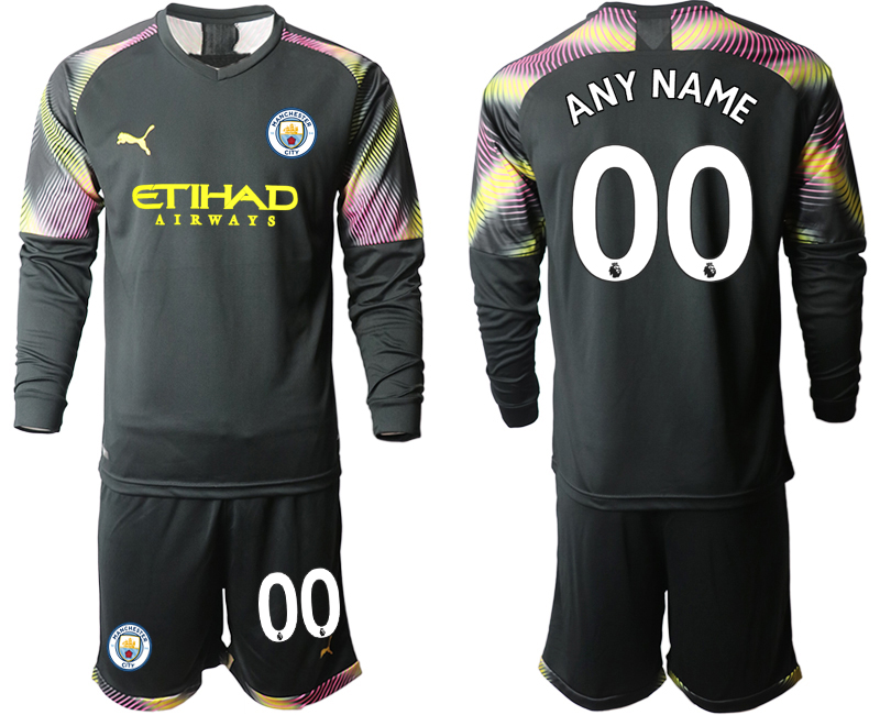 2019-20 Manchester City Customized Black Goalkeeper Long Sleeve Soccer Jersey