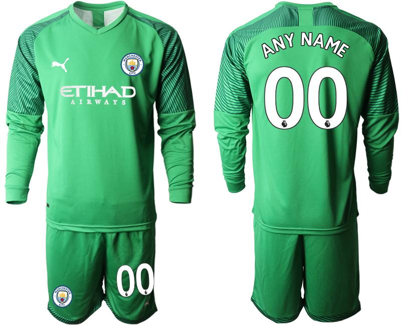 2019-20 Manchester City Customized Green Goalkeeper Long Sleeve Soccer Jersey